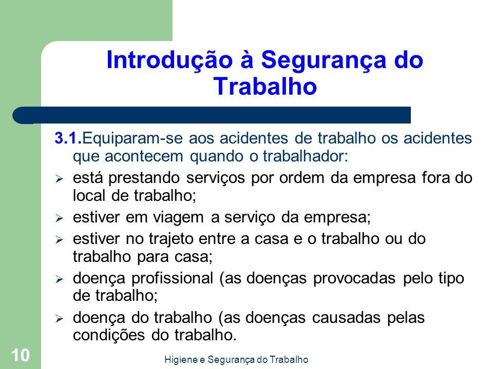 Higiene e Segurança do Trabalho 10 Introdução à Segurança do Trabalho 3.1.Equiparam-se aos acidentes de trabalho os acidentes que acontecem quando o t