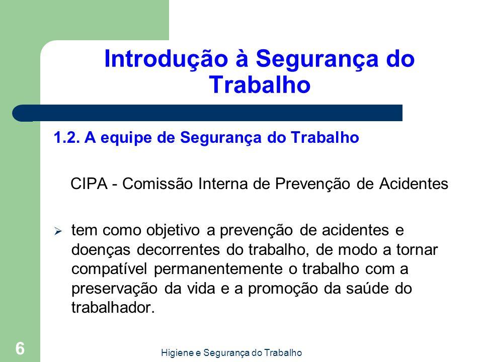 Higiene e Segurança do Trabalho 6 Introdução à Segurança do Trabalho 1.2. A equipe de Segurança do Trabalho CIPA - Comissão Interna de Prevenção de Ac