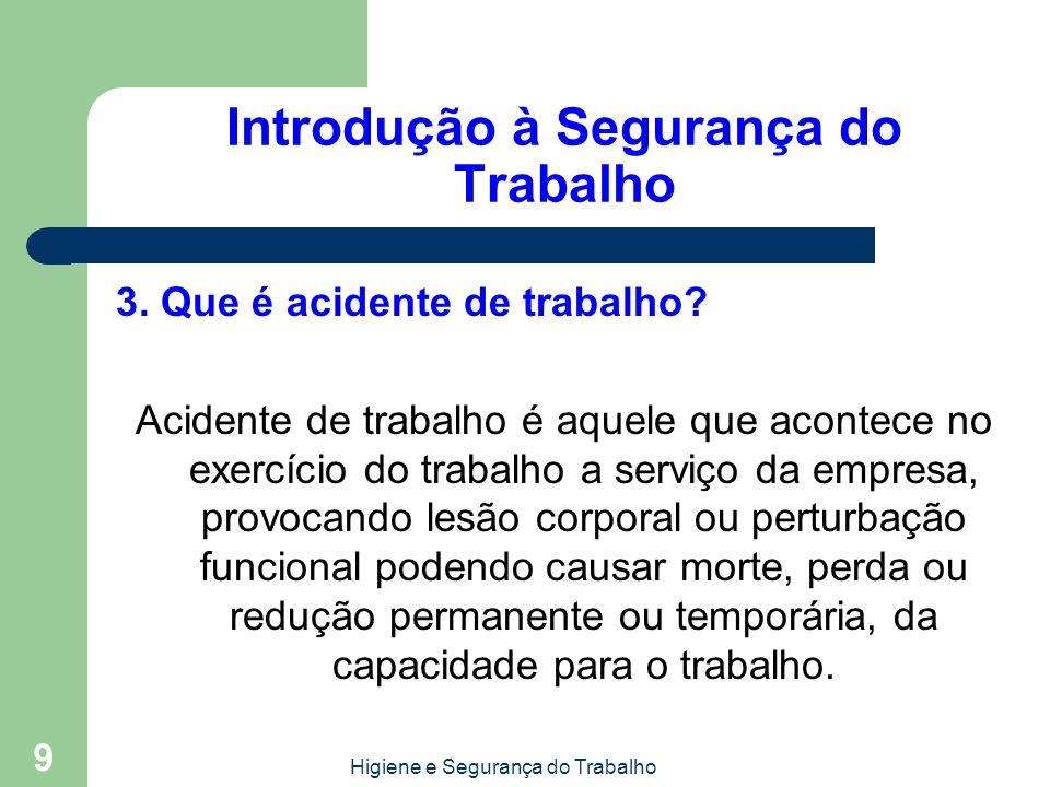 Higiene e Segurança do Trabalho 9 Introdução à Segurança do Trabalho 3. Que é acidente de trabalho? Acidente de trabalho é aquele que acontece no exer