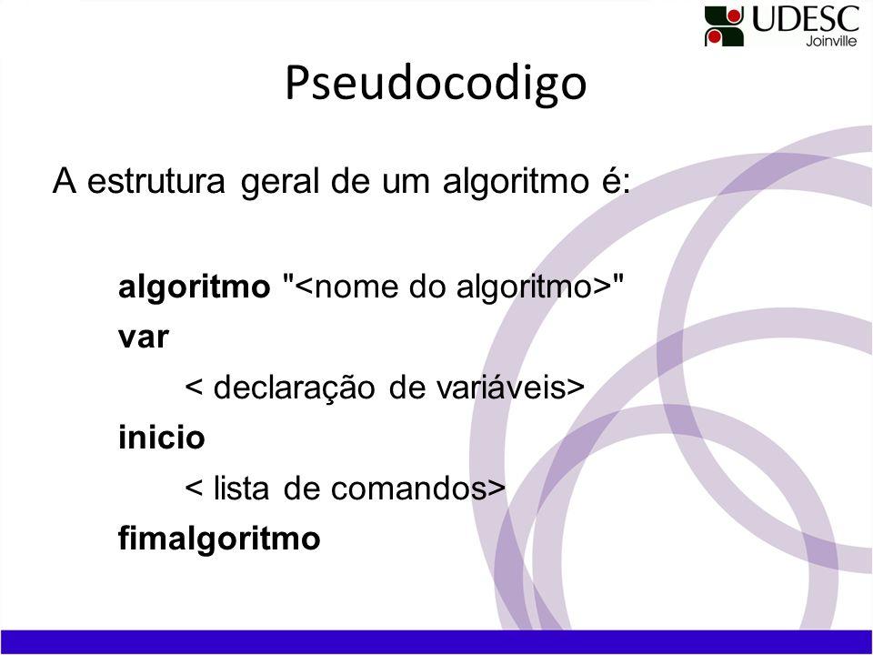 Pseudocodigo A estrutura geral de um algoritmo é: algoritmo