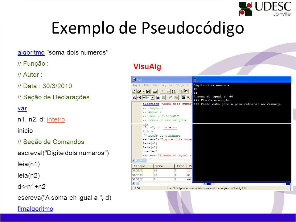 Exemplo de Pseudocódigo algoritmo