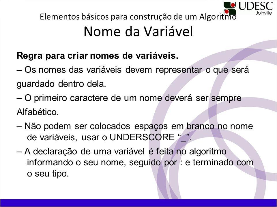 Elementos básicos para construção de um Algoritmo Nome da Variável Regra para criar nomes de variáveis. – Os nomes das variáveis devem representar o q