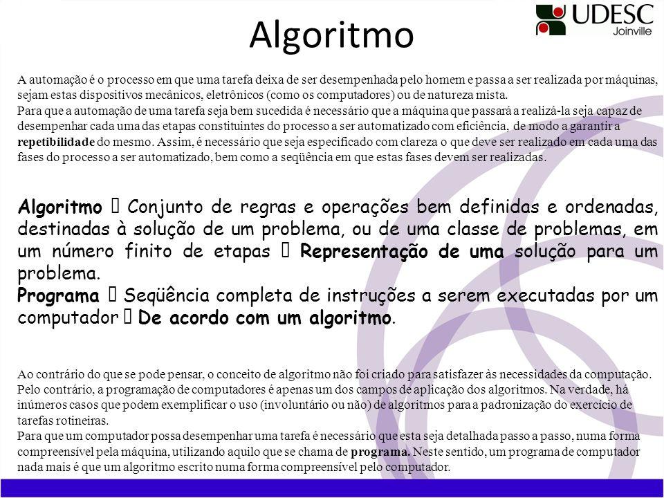 Algoritmo A automação é o processo em que uma tarefa deixa de ser desempenhada pelo homem e passa a ser realizada por máquinas, sejam estas dispositiv