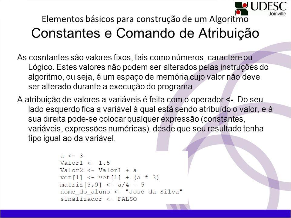Elementos básicos para construção de um Algoritmo Constantes e Comando de Atribuição As cosntantes são valores fixos, tais como números, caractere ou