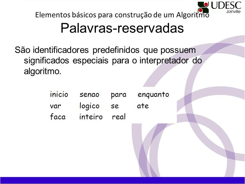 Elementos básicos para construção de um Algoritmo Palavras-reservadas São identificadores predefinidos que possuem significados especiais para o inter