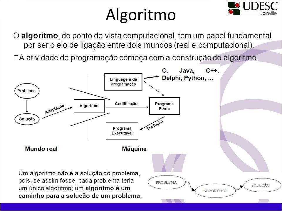 O algoritmo, do ponto de vista computacional, tem um papel fundamental por ser o elo de ligação entre dois mundos (real e computacional). A atividade