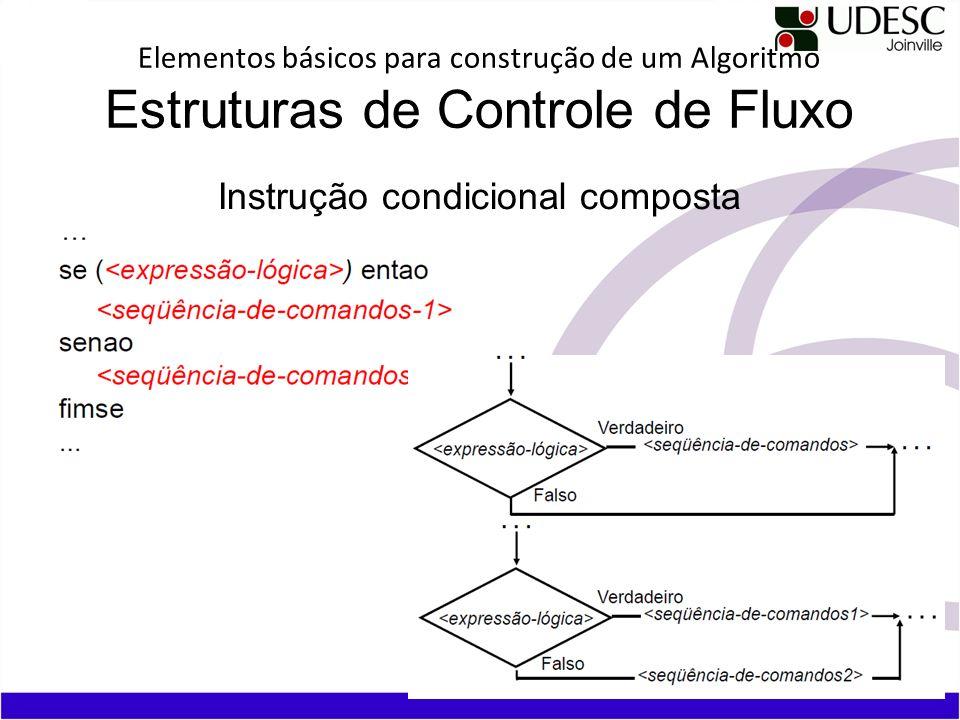 Elementos básicos para construção de um Algoritmo Estruturas de Controle de Fluxo Instrução condicional composta
