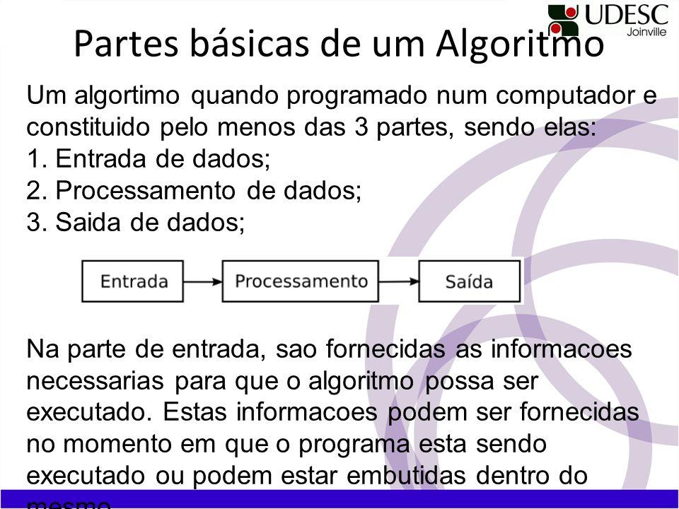Partes básicas de um Algoritmo Um algortimo quando programado num computador e constituido pelo menos das 3 partes, sendo elas: 1. Entrada de dados; 2