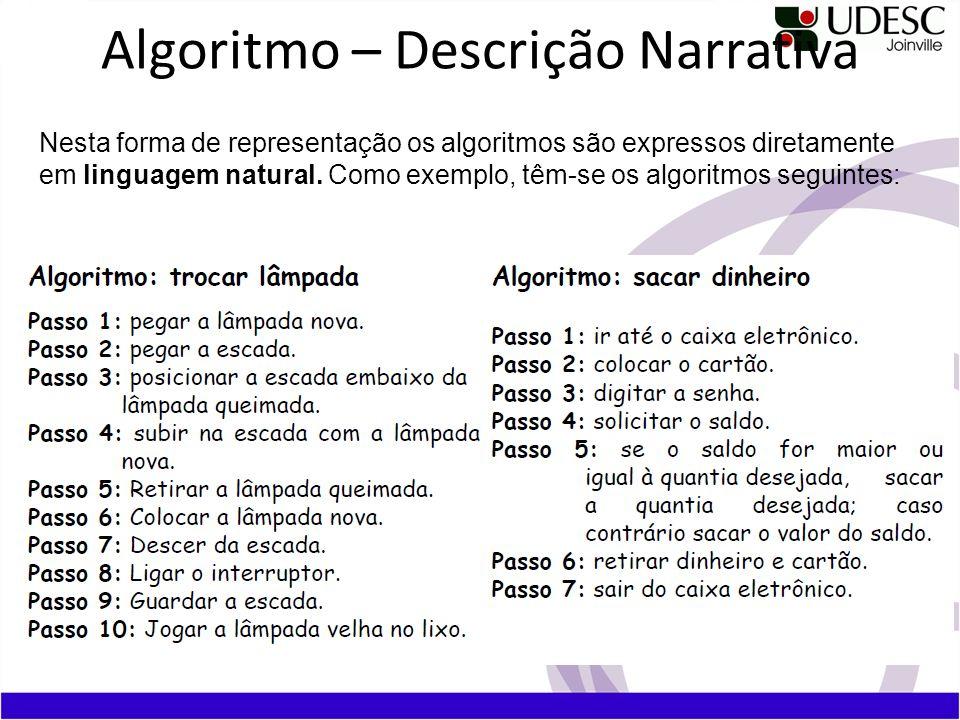 Algoritmo – Descrição Narrativa Nesta forma de representação os algoritmos são expressos diretamente em linguagem natural. Como exemplo, têm-se os alg