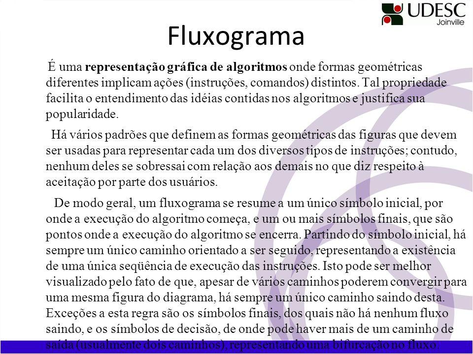 Fluxograma É uma representação gráfica de algoritmos onde formas geométricas diferentes implicam ações (instruções, comandos) distintos. Tal proprieda