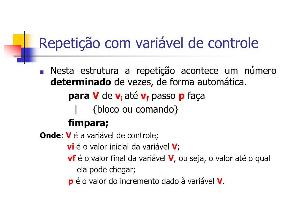 Repetição com variável de controle Nesta estrutura a repetição acontece um número determinado de vezes, de forma automática.