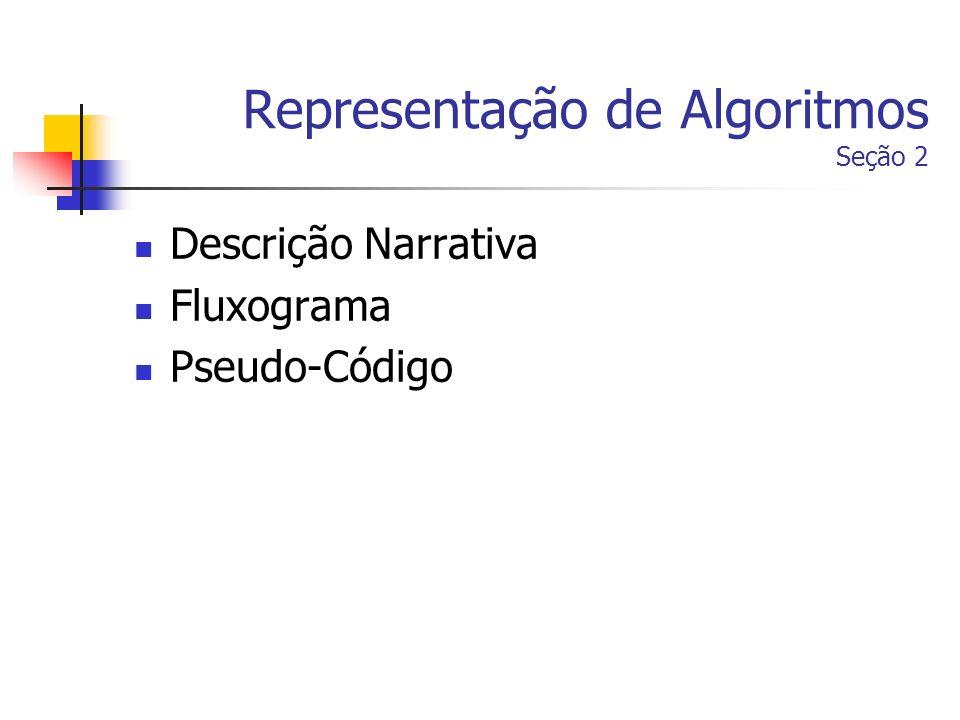 Representação de Algoritmos Seção 2 Descrição Narrativa Fluxograma Pseudo-Código