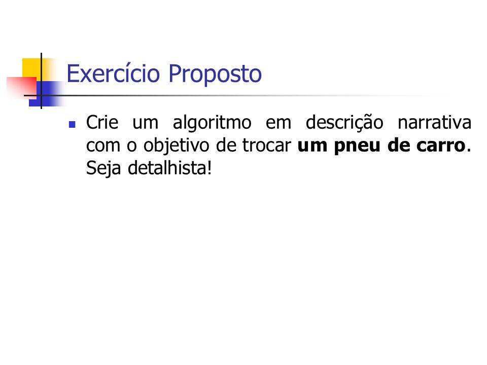 Exercício Proposto Crie um algoritmo em descrição narrativa com o objetivo de trocar um pneu de carro.