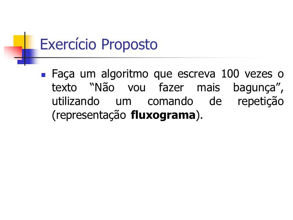 Exercício Proposto Faça um algoritmo que escreva 100 vezes o texto Não vou fazer mais bagunça, utilizando um comando de repetição (representação fluxograma).