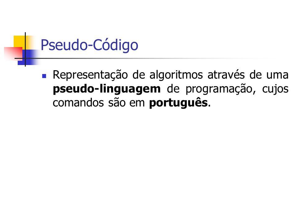 Pseudo-Código Representação de algoritmos através de uma pseudo-linguagem de programação, cujos comandos são em português.