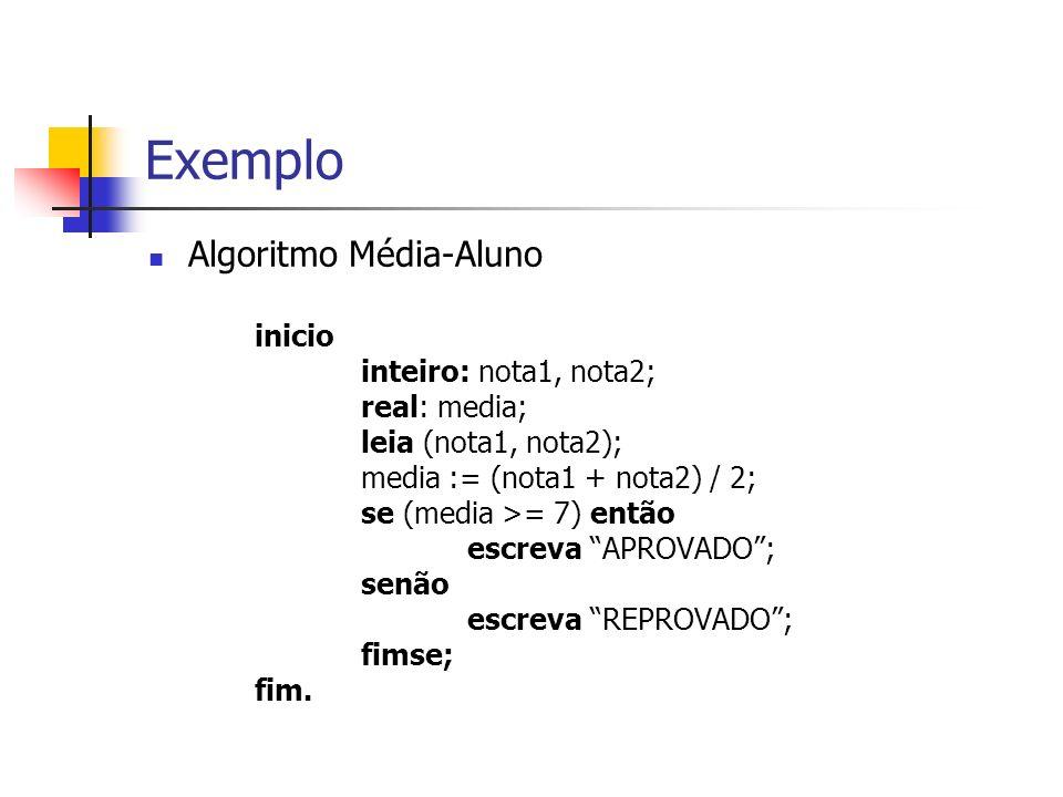 Exemplo Algoritmo Média-Aluno inicio inteiro: nota1, nota2; real: media; leia (nota1, nota2); media := (nota1 + nota2) / 2; se (media >= 7) então escreva APROVADO; senão escreva REPROVADO; fimse; fim.