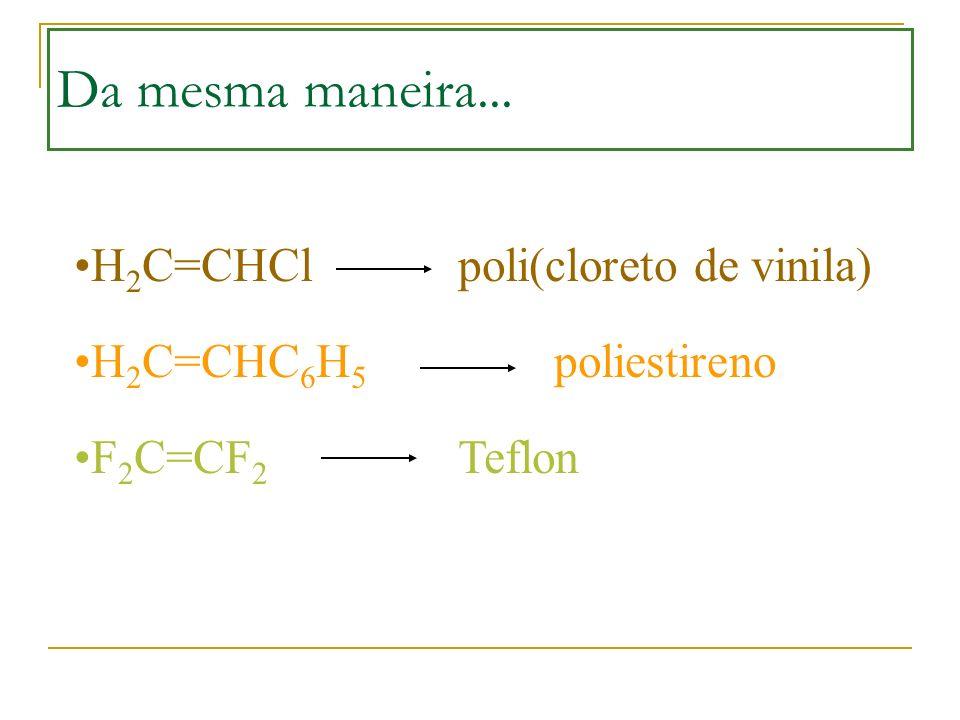Da mesma maneira... H 2 C=CHCl poli(cloreto de vinila) H 2 C=CHC 6 H 5 poliestireno F 2 C=CF 2 Teflon