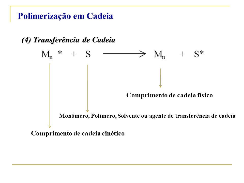 (4) Transferência de Cadeia Comprimento de cadeia cinético Monômero, Polímero, Solvente ou agente de transferência de cadeia Comprimento de cadeia fís