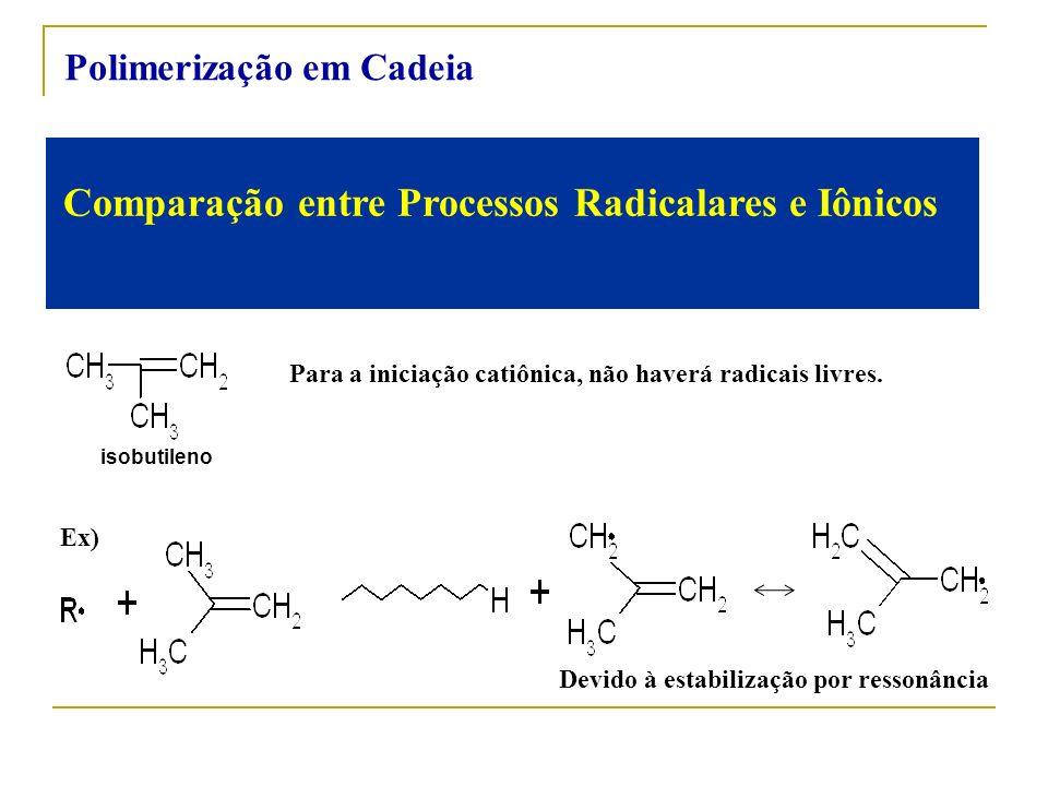 Comparação entre Processos Radicalares e Iônicos Para a iniciação catiônica, não haverá radicais livres. Ex) Devido à estabilização por ressonância Po