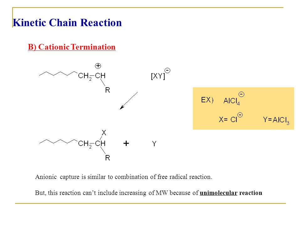 B) Cationic Termination Anionic capture is similar to combination of free radical reaction. But, this reaction cant include increasing of MW because o