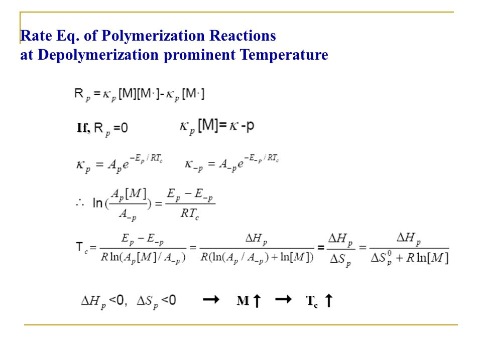 Rate Eq. of Polymerization Reactions at Depolymerization prominent Temperature If, M T c