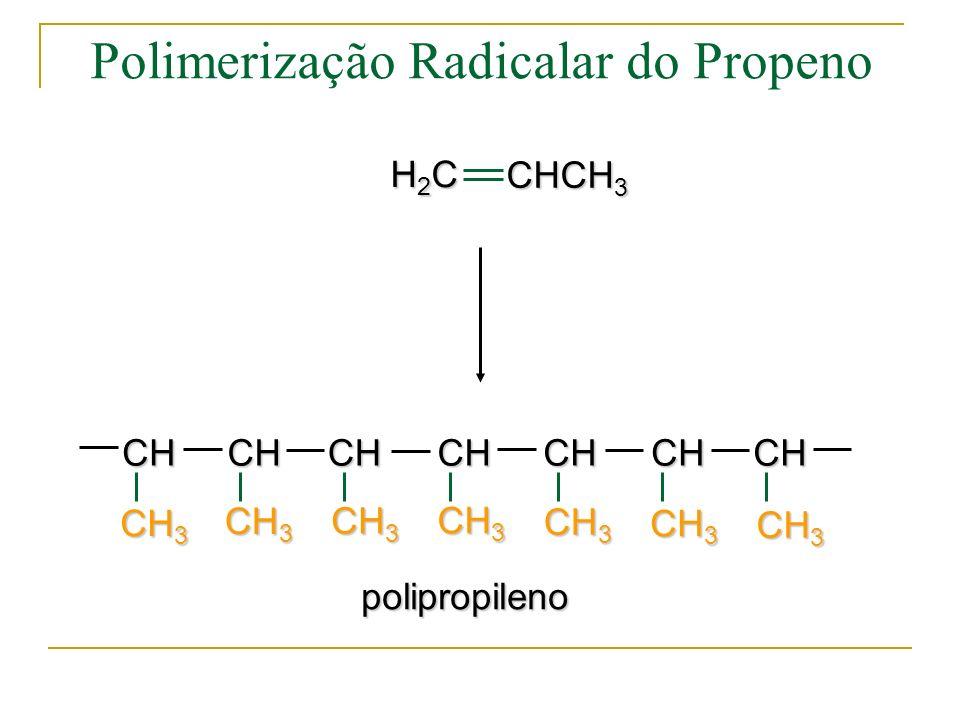 (2) Propagação k p : 10 2 ~ 10 4 L/mol s (muito mais rápida que a de polimerização em etapas) (Repetição de reação similar) Polimerização em Cadeia
