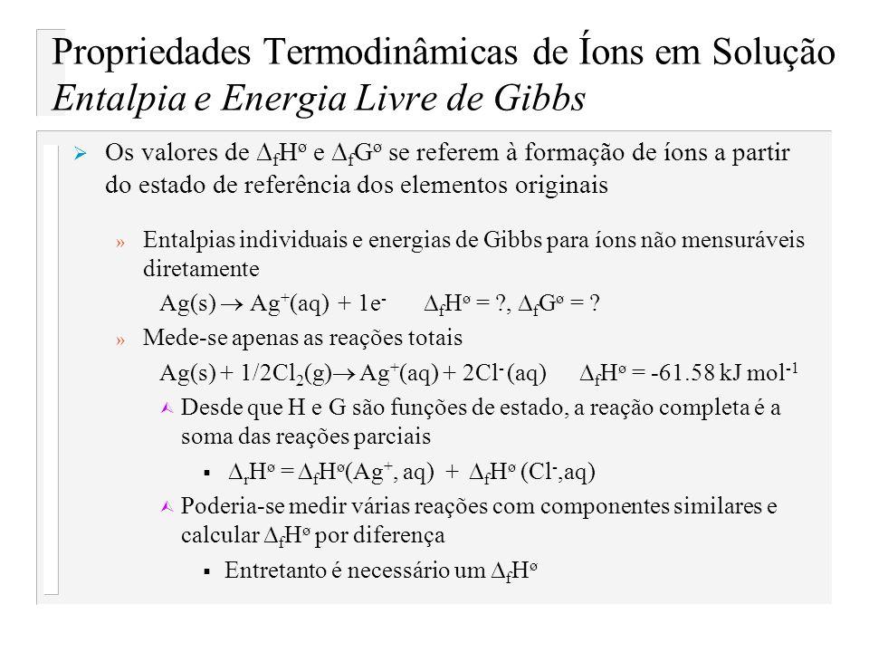 Propriedades Termodinâmicas de Íons em Solução Entalpia e Energia Livre de Gibbs Os valores de f H ø e f G ø se referem à formação de íons a partir do