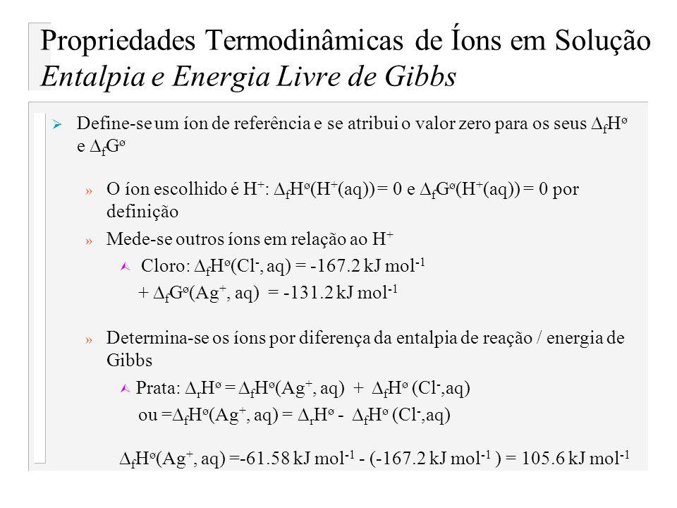 Propriedades Termodinâmicas de Íons em Solução Entalpia e Energia Livre de Gibbs Define-se um íon de referência e se atribui o valor zero para os seus