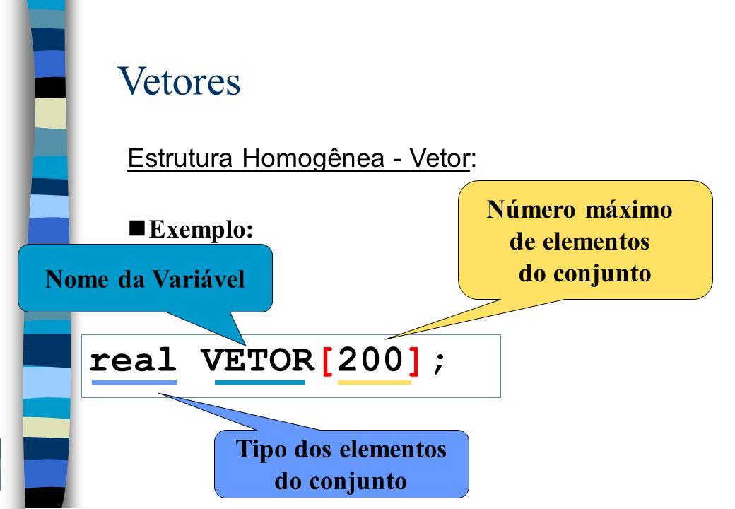 Vetores Estrutura Homogênea - Vetor: nExemplo: real VETOR[200]; Nome da Variável Número máximo de elementos do conjunto Tipo dos elementos do conjunto