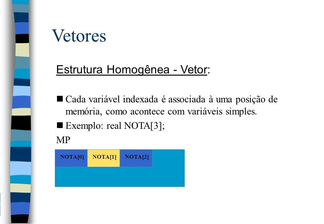 Vetores Estrutura Homogênea - Vetor: nCada variável indexada é associada à uma posição de memória, como acontece com variáveis simples. nExemplo: real