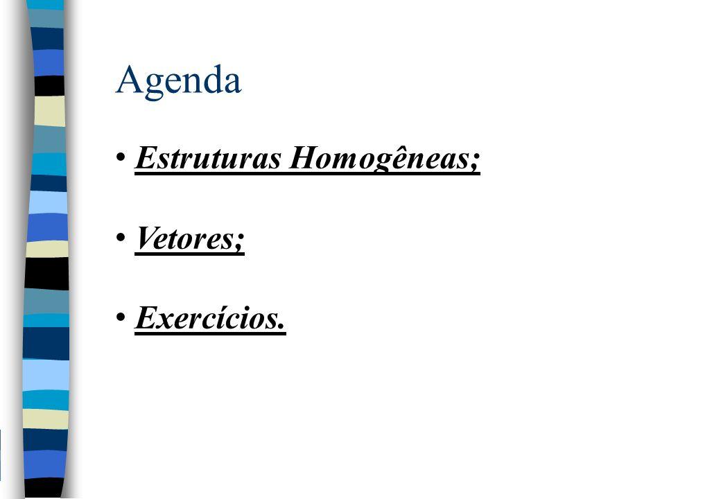 Agenda Estruturas Homogêneas; Vetores; Exercícios.