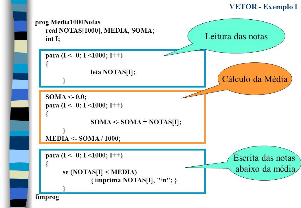 prog Media1000Notas real NOTAS[1000], MEDIA, SOMA; int I; para (I <- 0; I <1000; I++) { leia NOTAS[I]; } SOMA <- 0.0; para (I <- 0; I <1000; I++) { SO