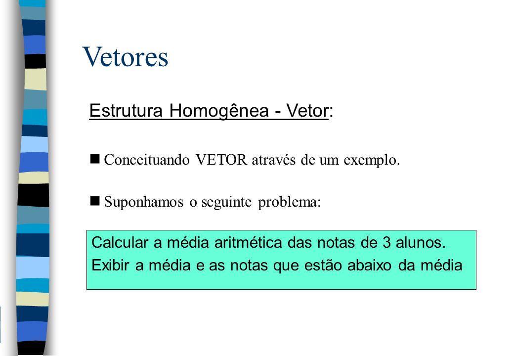 Vetores Estrutura Homogênea - Vetor: nConceituando VETOR através de um exemplo. nSuponhamos o seguinte problema: Calcular a média aritmética das notas