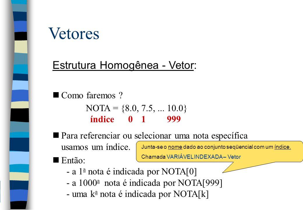 prog Media1000Notas real NOTAS[1000], MEDIA, SOMA; int I; para (I <- 0; I <1000; I++) { leia NOTAS[I]; } SOMA <- 0.0; para (I <- 0; I <1000; I++) { SOMA <- SOMA + NOTAS[I]; } MEDIA <- SOMA / 1000; para (I <- 0; I <1000; I++) { se (NOTAS[I] < MEDIA) { imprima NOTAS[I], \n ; } } fimprog VETOR - Exemplo 1 Leitura das notas Cálculo da Média Escrita das notas abaixo da média