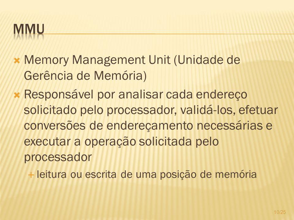Memory Management Unit (Unidade de Gerência de Memória) Responsável por analisar cada endereço solicitado pelo processador, validá-los, efetuar conver