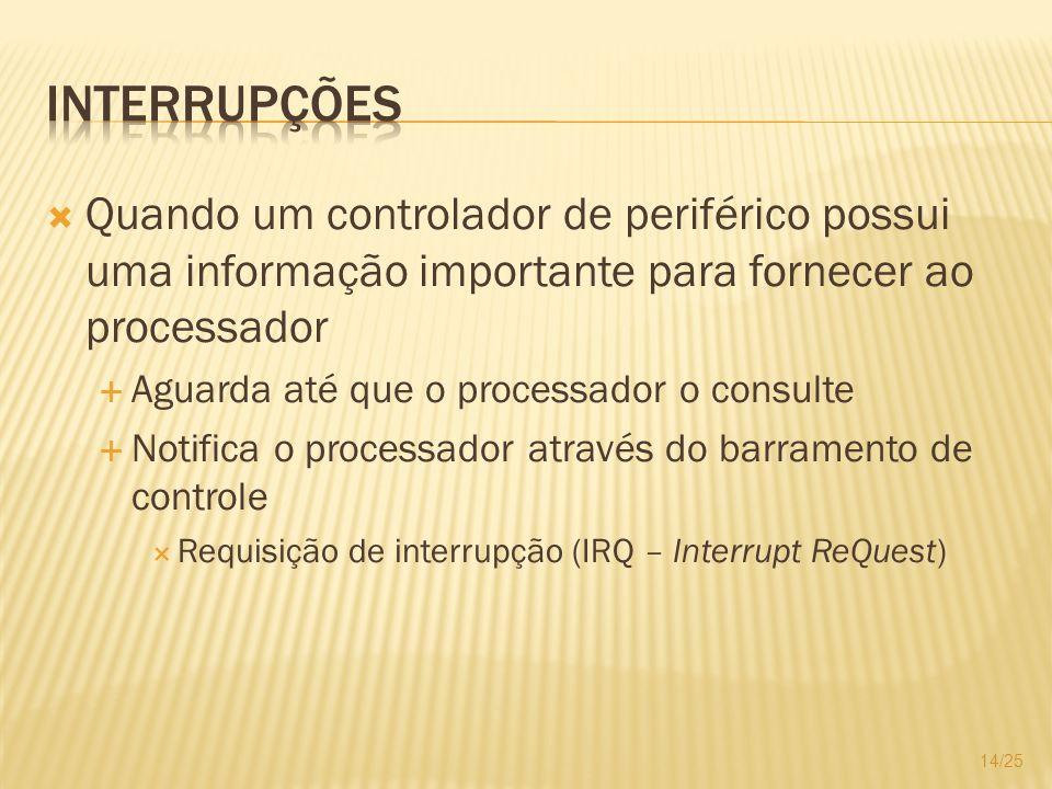 Quando um controlador de periférico possui uma informação importante para fornecer ao processador Aguarda até que o processador o consulte Notifica o