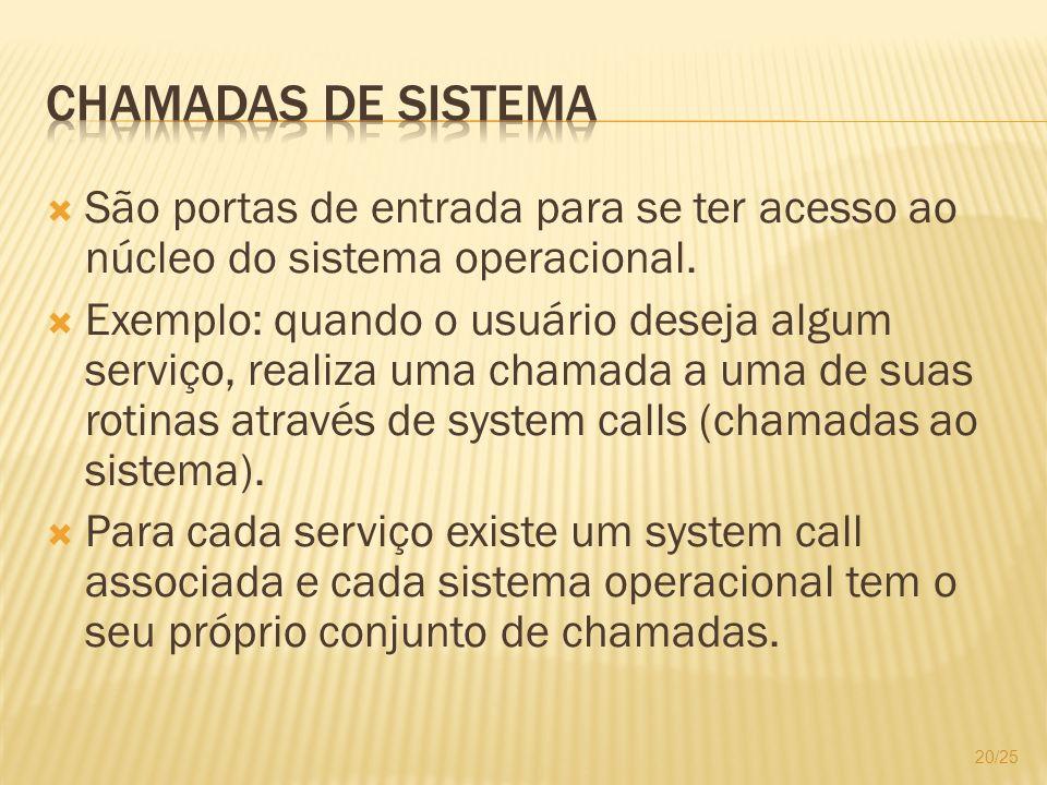 São portas de entrada para se ter acesso ao núcleo do sistema operacional. Exemplo: quando o usuário deseja algum serviço, realiza uma chamada a uma d