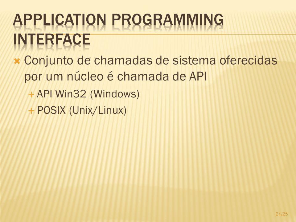 Conjunto de chamadas de sistema oferecidas por um núcleo é chamada de API API Win32 (Windows) POSIX (Unix/Linux) 24/25