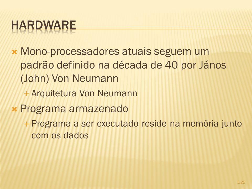 Mono-processadores atuais seguem um padrão definido na década de 40 por János (John) Von Neumann Arquitetura Von Neumann Programa armazenado Programa