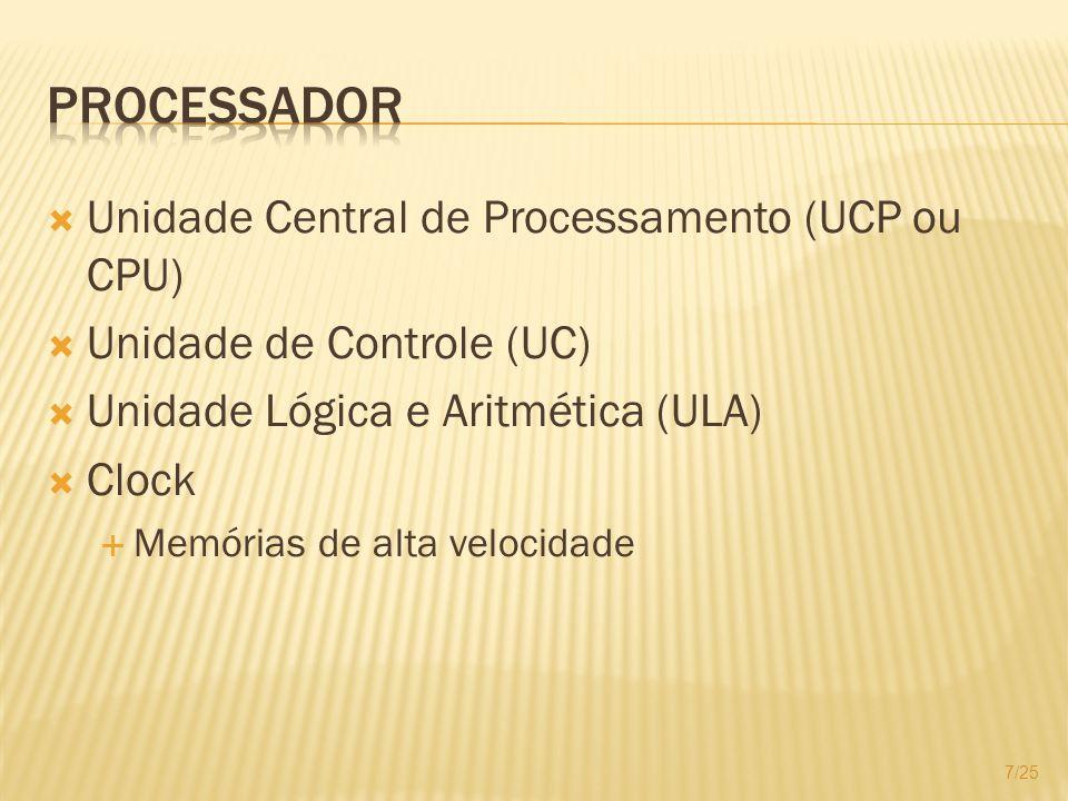 Unidade Central de Processamento (UCP ou CPU) Unidade de Controle (UC) Unidade Lógica e Aritmética (ULA) Clock Memórias de alta velocidade 7/25