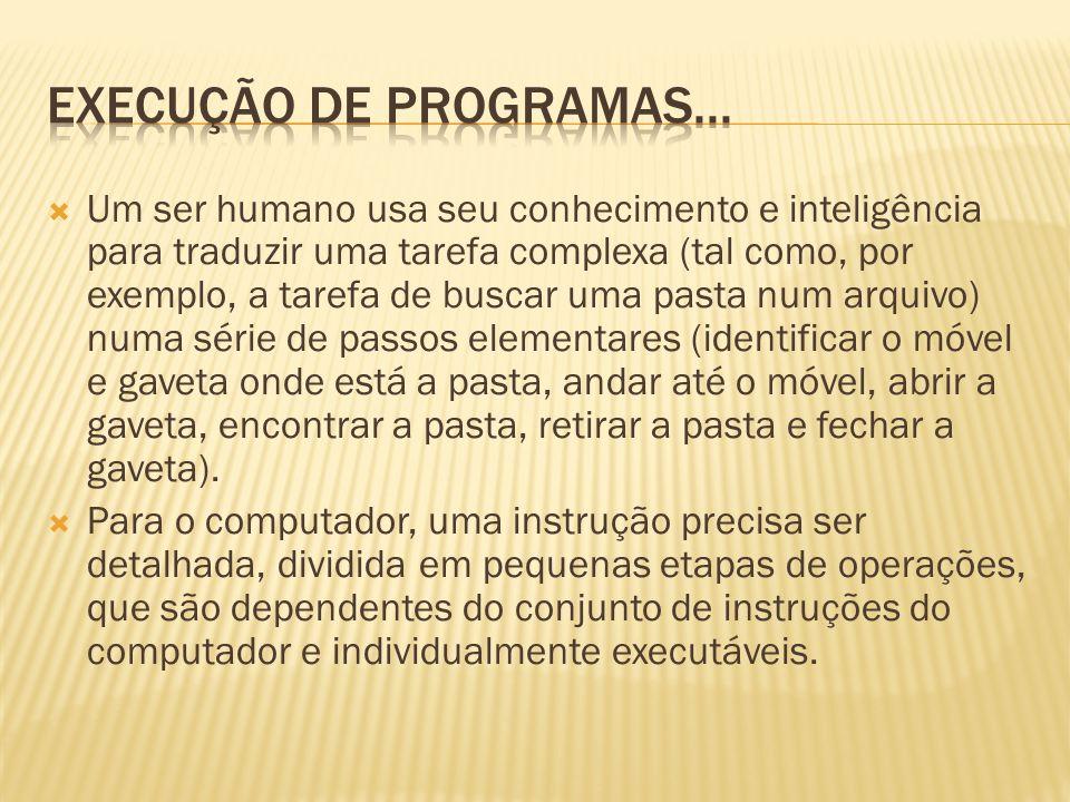 Um ser humano usa seu conhecimento e inteligência para traduzir uma tarefa complexa (tal como, por exemplo, a tarefa de buscar uma pasta num arquivo)