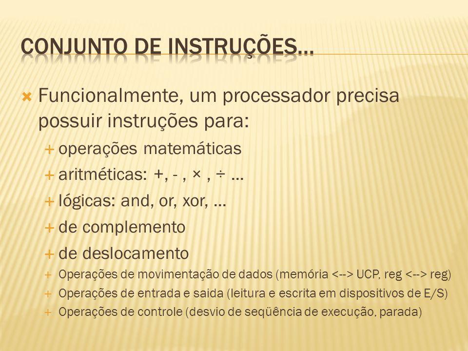 Funcionalmente, um processador precisa possuir instruções para: operações matemáticas aritméticas: +, -, ×, ÷... lógicas: and, or, xor,... de compleme