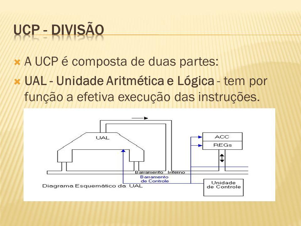 UC - Unidade de Controle - tem por funções a busca, interpretação e controle de execução das instruções, e o controle dos demais componentes do computador Obs.: Neste curso, por simplicidade, será considerado apenas o funcionamento serial em uma UCP.