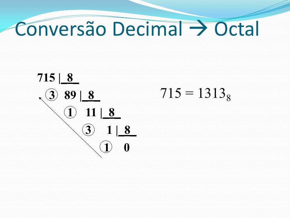 715 |_8_ 3 89 |_8_ 1 11 |_8_ 3 1 |_8_ 1 0 715 = 1313 8 Conversão Decimal Octal