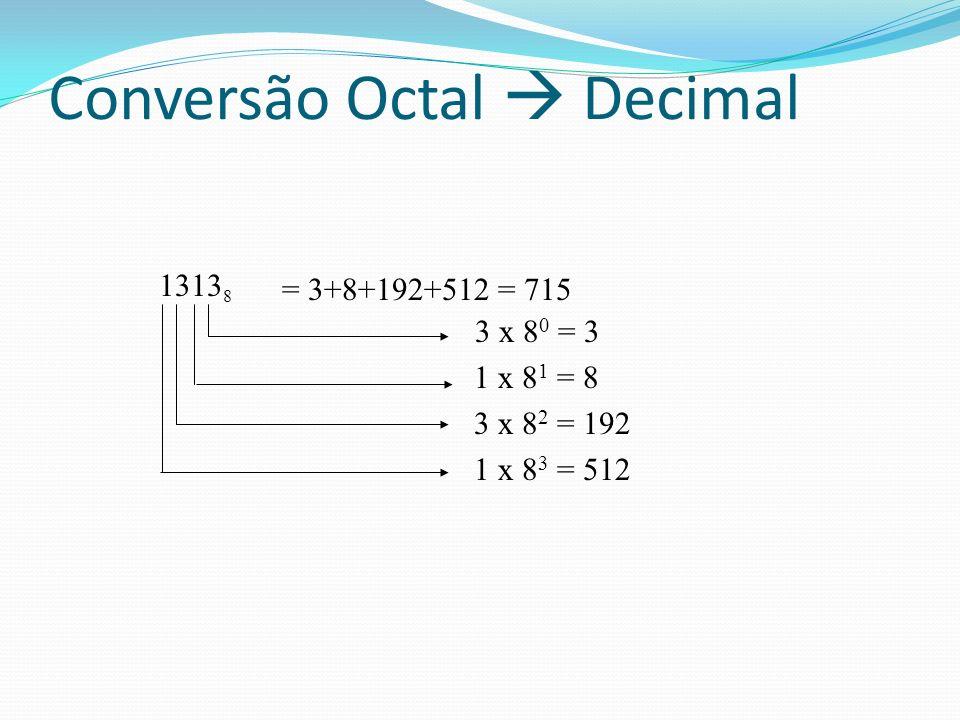 1313 8 3 x 8 0 = 3 1 x 8 1 = 8 3 x 8 2 = 192 1 x 8 3 = 512 = 3+8+192+512 = 715 Conversão Octal Decimal