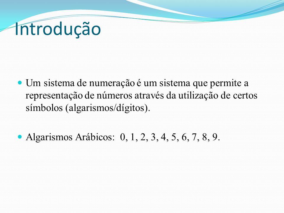 Introdução Um sistema de numeração é um sistema que permite a representação de números através da utilização de certos símbolos (algarismos/dígitos).