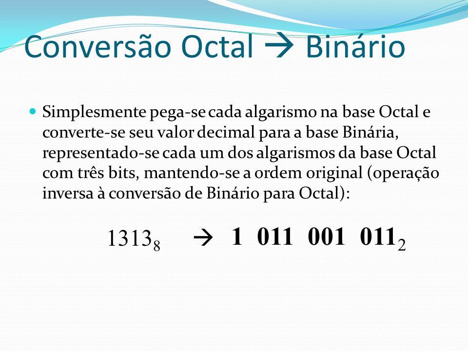 Conversão Octal Binário Simplesmente pega-se cada algarismo na base Octal e converte-se seu valor decimal para a base Binária, representado-se cada um dos algarismos da base Octal com três bits, mantendo-se a ordem original (operação inversa à conversão de Binário para Octal): 1313 8 1 011 001 011 2