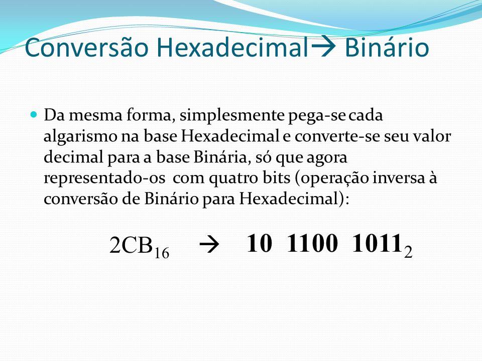 Conversão Hexadecimal Binário Da mesma forma, simplesmente pega-se cada algarismo na base Hexadecimal e converte-se seu valor decimal para a base Binária, só que agora representado-os com quatro bits (operação inversa à conversão de Binário para Hexadecimal): 2CB 16 10 1100 1011 2