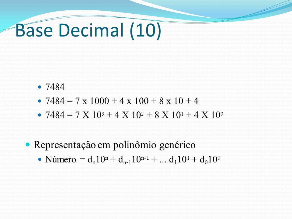 Representação de binário na base 10 1101001 2 = 1 x 26 26 + 1 x 2 5 + 0 x 24 24 + 1 x 23 23 + 0 x 22 22 + 0 x 21 21 + 1 x 2020 1101001 2 = 64 + 32 + 0 + 8 + 0 + 0 + 1 1101001 2 = 105 10 Representação em polinômio genérico Número = bn2n bn2n + b n-1 2 n-1 +...