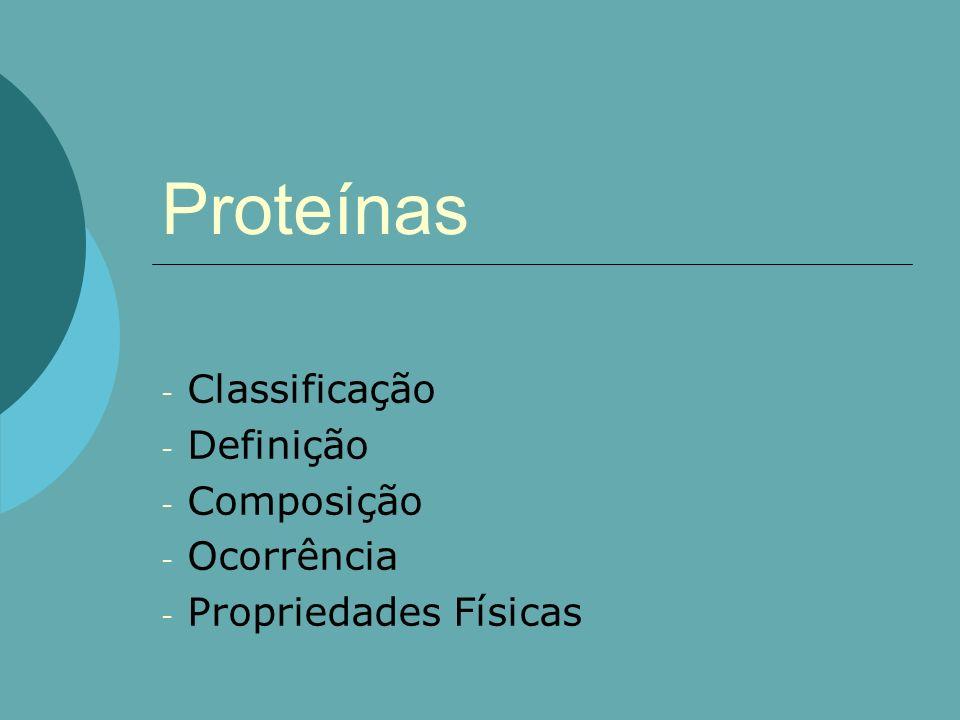 Definição Proteína vem do grego protos = primeiro São macromoléculas resultantes da condensação de moléculas aminoácidos através da ligação peptídica.